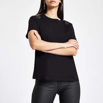 River Island Black rhinestone embellished shoulder T-shirt