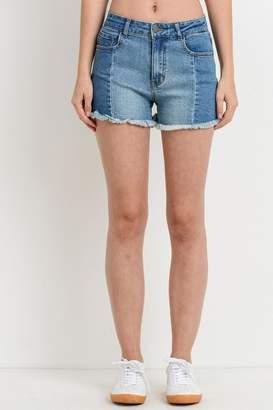 Black Label Paneled Denim Shorts