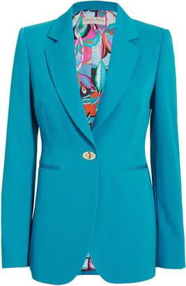 Emilio Pucci Turnlock Detail Blue Blazer