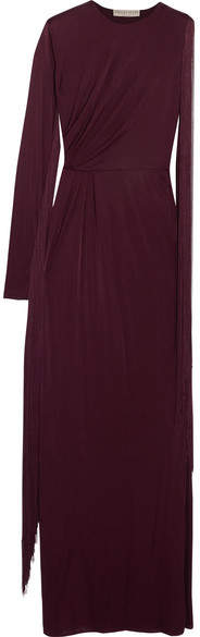 Emilio Pucci - Fringed One-shoulder Jersey Gown - Burgundy