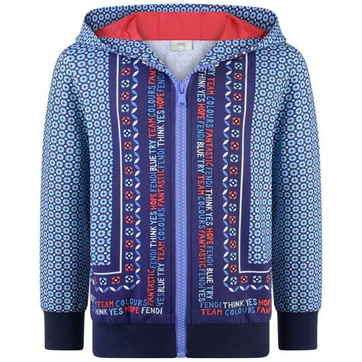 FendiBoys Blue Patterned Zip Up Top