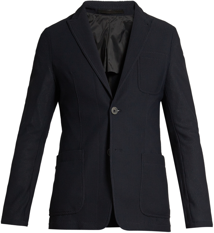 Giorgio Armani Honeycomb-mesh patch-pocket blazer