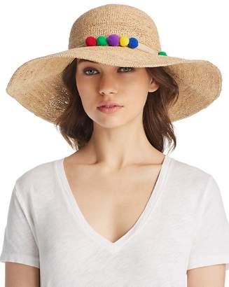 Marzi Pom-Pom Trim Floppy Straw Sun Hat