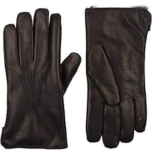 Barneys New York Men's Fur-Lined Gloves - Black