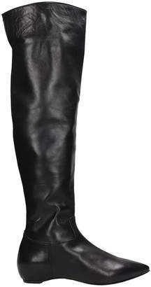 The Seller Black Leather Ras High Boots