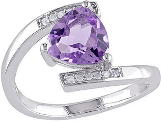FINE JEWELRY Genuine Amethyst and Diamond-Accent Sterling Silver Bypass Ring