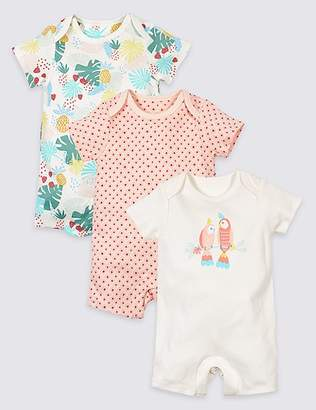 Marks and Spencer 3 Pack Pure Cotton Tropical Print Rompers