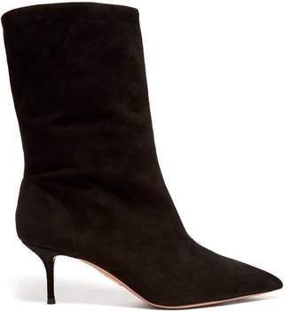 Aquazzura Very Boogie 60 Slouched Suede Boots - Womens - Black
