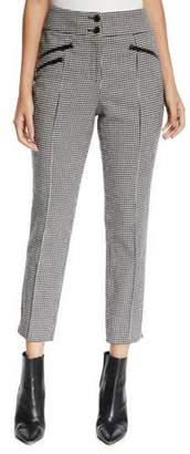 Veronica Beard Felton High-Rise Cropped Houndstooth Trousers