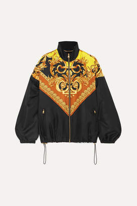 Versace Printed Satin-twill Track Jacket - Yellow