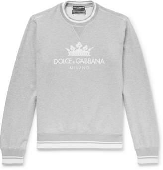 Dolce & Gabbana Logo-Print Mélange Loopback Cotton-Blend Sweatshirt