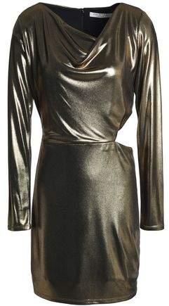Cutout Draped Lamé Mini Dress