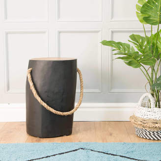 The Orchard Furniture Natural Teak Round Black Stool Side Table With Rope