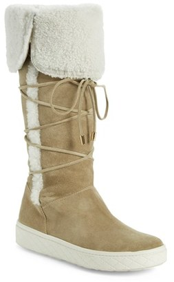 Women's Moncler 'Madeleine Stivale' Genuine Shearling Tall Boot $940 thestylecure.com