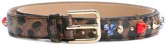 Dolce & Gabbana embellished leopard print belt