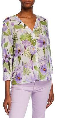 Alice + Olivia Colby Floral-Print Button-Down 3/4-Sleeve Shirt