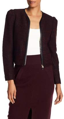 Club Monaco Braxlee Faux Leather Trimmed Knit Jacket