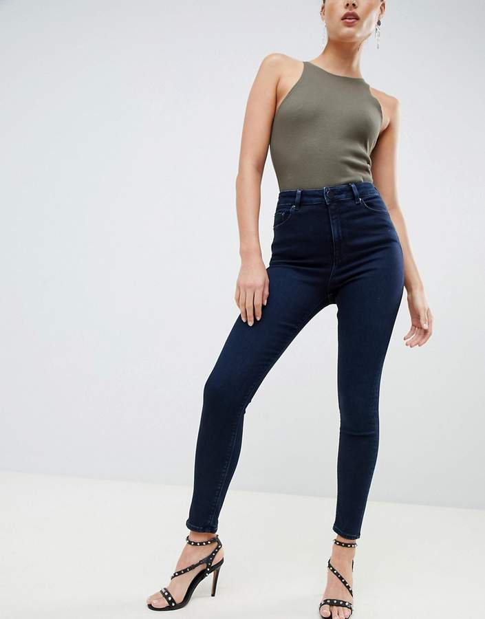 ASOS DESIGN Ridley high waist skinny jeans in blackened blue wash