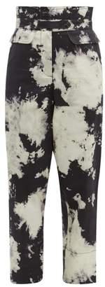 Sea Ione Tie Dye High Rise Twill Trousers - Womens - Black White