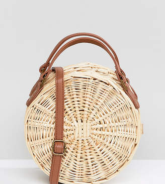 South Beach Round Straw Cross Body Bag