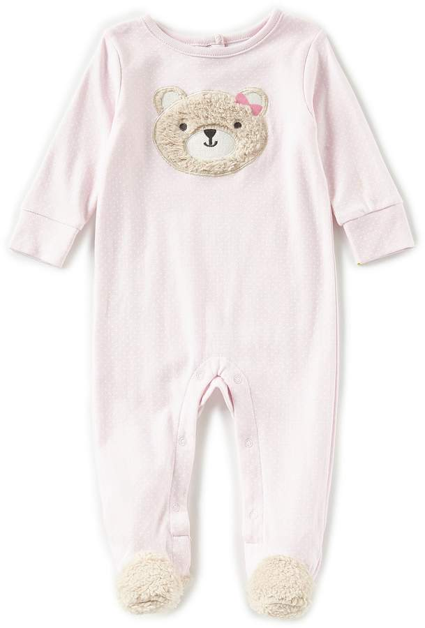 Starting Out Baby Girls Newborn-6 Months Bear Face Long Sleeve Footed Coverall