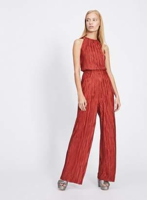 Miss Selfridge Rust plisse jumpsuit