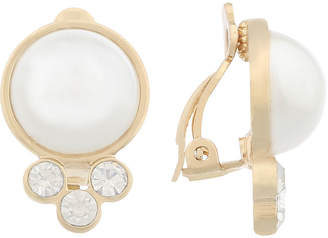 Gloria Vanderbilt White Simulated Pearl Clip On Earrings