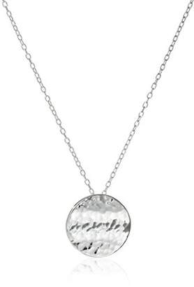 Sterling Hammered Circle Pendant Necklace