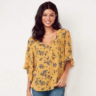 Lauren Conrad Women's Print Flounce Sleeve Top