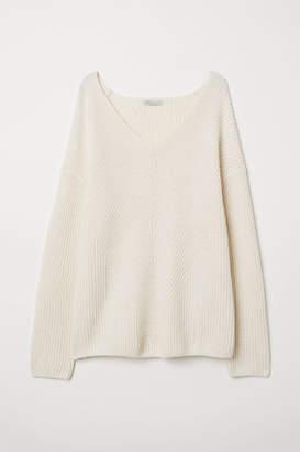 H&M V-neck Cashmere Sweater - White
