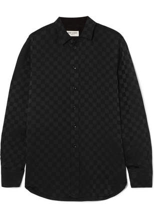 Saint Laurent Checked Silk-jacquard Shirt - Black