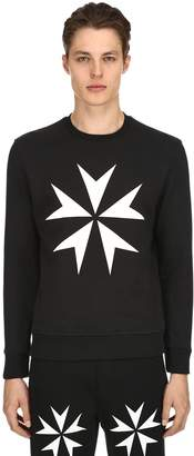 Neil Barrett Star Printed Cotton Jersey Sweatshirt