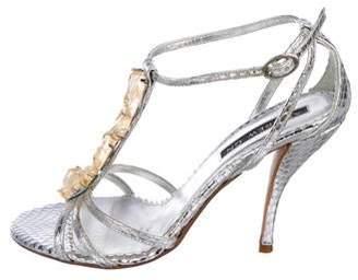 Andrew Gn Embossed Embellished Sandals