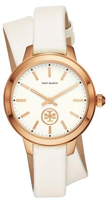 Tory Burch Collins Wrap Leather Strap Watch, 38mm