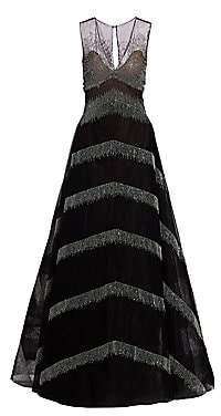 Ahluwalia Women's Delilah Metallic Fringe A-Line Ball Gown