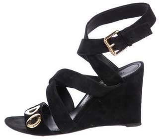 Louis Vuitton Suede Wedge Sandals