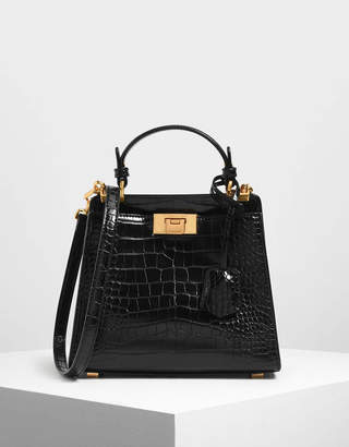 Charles & Keith Croc-Effect Angular Handbag