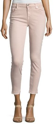 7 For All Mankind The Ankle Skinny Jeans with Released Hem, Pink $179 thestylecure.com