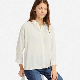 Uniqlo WOMEN Linen Blend 3/4 Sleeve Shirt