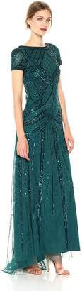 Adrianna Papell Women's Geometric Beaded Gown