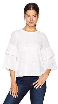 Kensie Women's Doily Lace Tiered Sleeve Top