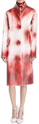 Calvin Klein Splash-Paint Oversized Leather Coat