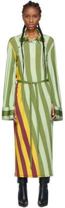J.W.Anderson Multicolor Warped Stripe Print Polo Dress