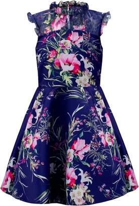 David Charles Satin & Chiffon Floral Fit & Flare Dress