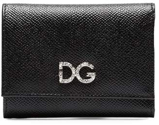 Dolce & Gabbana black diamante grained leather wallet