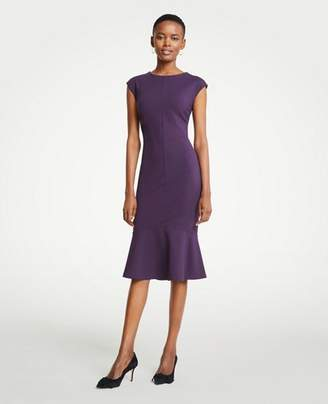 Ann Taylor Petite Ponte Flounce Sheath Dress