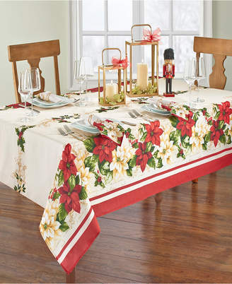 """Elrene Red and White Poinsettias Tablecloth - 60"""" x 84"""" Oval"""