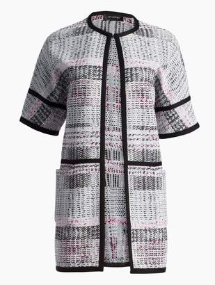 St. John Bianca Plaid Knit Short Sleeve Jacket