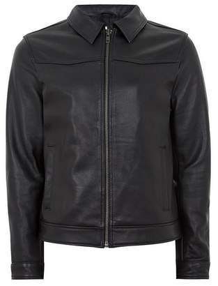 Topman Mens Black Leather Harrington Jacket