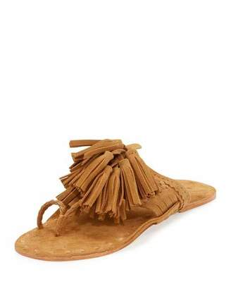 Figue Scaramouche Suede Tassel Thong Sandals, Brown